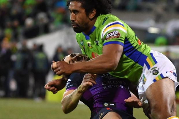 Knockout blow: Sia Soliola took out Billy Slater and will face the judiciary on Tuesday night.
