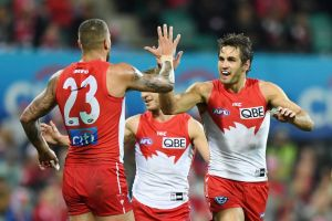 Swans captain Josh Kennedy (right) will celebrate his 200th game against Hawthorn at the weekend.