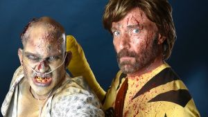 "Paul Baum, left, and David Schoelen, dressed as characters from ""The Walking Dead,"" pose for a portrait on day two of ..."
