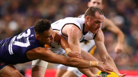 Mine, no mine: Michael Johnson and Jarryd Roughead battle for the ball in Hawthorn's win on Saturday.