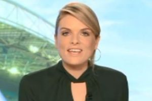 Erin Molan fell off her chair, swore and spilled water on herself during the 6pm bulletin.