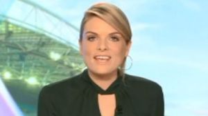 Erin Molan shortly after falling off a chair and spilling water on herself while on air.