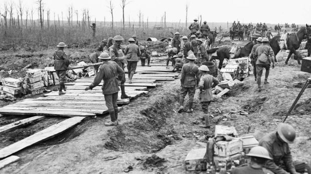 The 2nd Australian Pioneer Battalion making a wagon track from planks of wood at Chateau Wood during  the Battle of ...