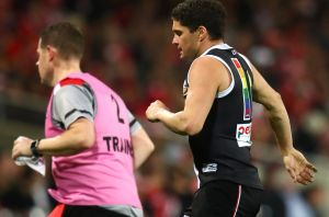 Leigh Montagna limped off in the third quarter.