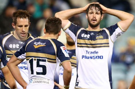 Dejected: Sam Carter realises it is another year without Super Rugby silverware for the Brumbies.