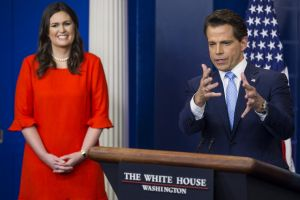 Anthony Scaramucci gives his first press conference as White House director of communications on Friday, flanked by new  ...