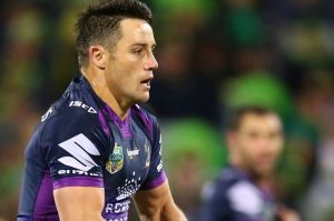 Cooper Cronk prepares to kick against Canberra.