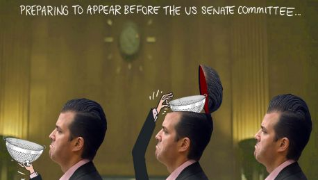 Matt Golding Captioned 'Preparing to appear before the US Senate committee', with Trump Jnr opening his head cavity to ...