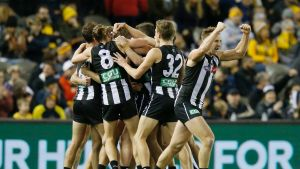 Stoked: Collingwood players after the final siren at Etihad Stadium on Sunday.