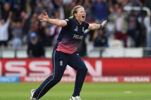 LONDON, ENGLAND - JULY 23: Anya Shrubsole of England celebrates after taking the final India wicket of Rajeshwari ...