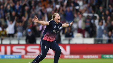 Anya Shrubsole of England celebrates after taking the final India wicket.
