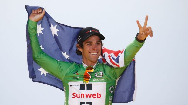 Canberra's Michael Matthews celebrates after claiming the green jersey.