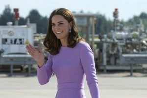 On the last day of the tour the Duchess wore a lilac Emilia Wickstead A-line dress with long sleeves and a subdued ...