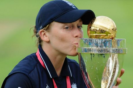 England captain Heather Knight celebrates with trophy after England won the Women's World Cup.