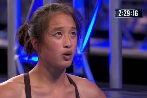 Andrea pauses before making history on the Australian Ninja Warrior obstacle course.