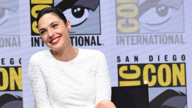 "Gal Gadot attends the Warner Bros. ""Justice League"" panel on day three of Comic-Con."