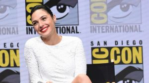 """Gal Gadot attends the Warner Bros. """"Justice League"""" panel on day three of Comic-Con."""