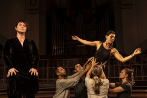 Chryssy Tintner with dancers rehearsing for a performance of <I>The Seven Deadly Sins</I>.