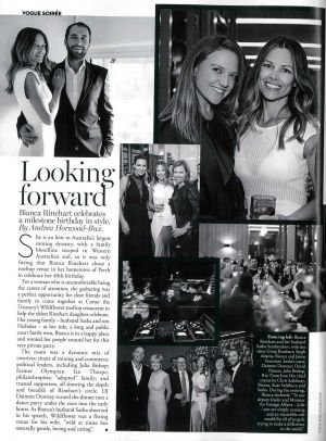 Ginia and Bianca Rinehart (top right) were photographed at Bianca's 40th birthday for Vogue Australia.