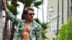 Hotel Martinique Banana Leaf Men's Pajamas worn by Hugh Sheridan, exclusively for the Beverly Hills Hotel.