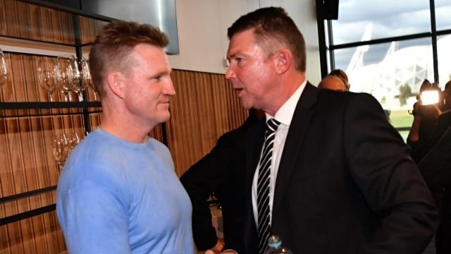 Outgoing CEO Gary Pert with Collingwood coach Nathan Buckley.