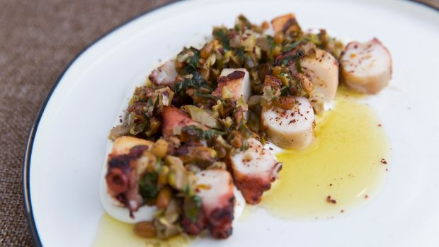 Charred octopus, pistachio and green olive salsa and labna.