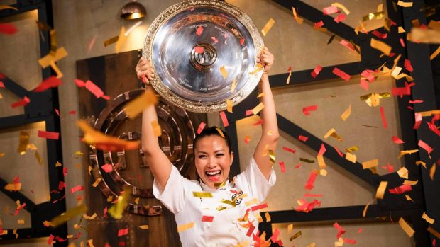 Diana Chan celebrates her victory during the 2017 MasterChef Australia grand final.