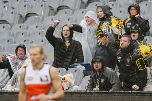 Tigers fans react after a decision during the round 18  match between Richmond and the Greater Western Sydney Giants.