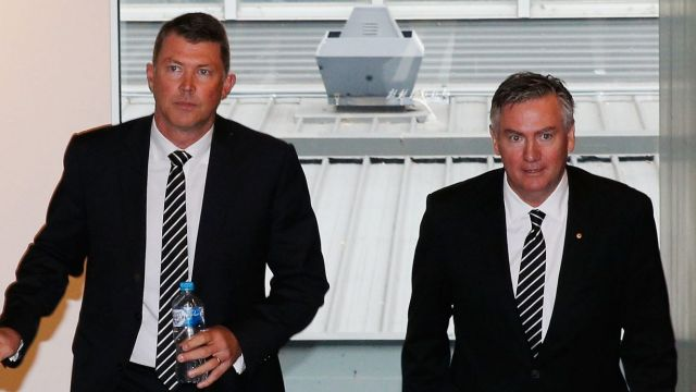 Outgoing Collingwood Magpies AFL CEO Gary Pert (L) arrives to announce his resignation alongside President Eddie McGuire.