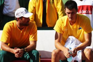 Bernard Tomic and Pat Rafter of Australia at a Davis Cup tie against Germany in 2012.