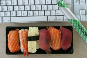 Many people buy lunch to eat at their desk.