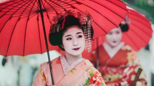 Maiko girls, Geisha apprentices, Kyoto, Japan