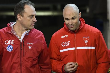 Swans coach John Longmire with Tom Harley, who will become the club's CEO at the end of next year.
