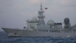 The Chinese vessel pictured off the Queensland coast in an image obtained by the ABC.