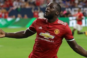 New kid: Manchester United's Romelu Lukaku reacts to scoring a goal against Manchester City during the first half of an ...