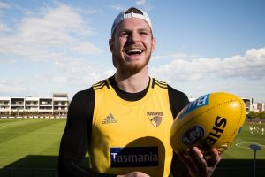 Hawthorn FC player Blake Hardwick photographed at the Hawthorn Football Club in Mount Waverley. Photograph Paul Jeffers ...