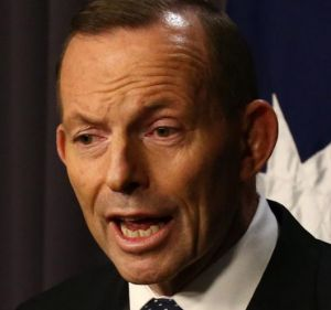 Prime Minister Tony Abbott held a late night press conference at 9.48pm following the coalition party room meeting on ...