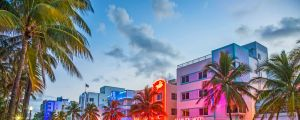 Miami: Palm trees and art deco hotels line Ocean Drive by night.