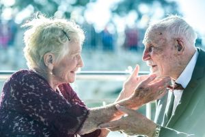 Sylvia Martin, 93, amd Frank Raymond, 88 were married om the over-water gazebo at Monash's Goodwin Village where they ...