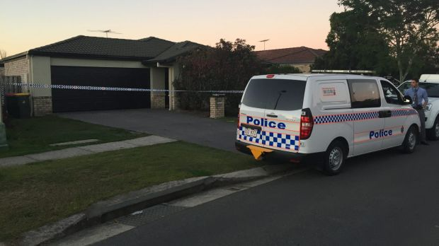 Police at the scene at Aldea Circuit, Bracken Ridge where a woman was found with burns.