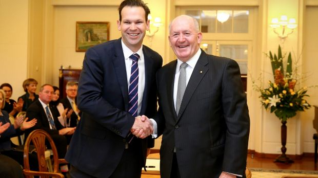 Matt Canavan at his swearing in as resources and Northern Australia Minister in 2016. He quit cabinet last week over ...