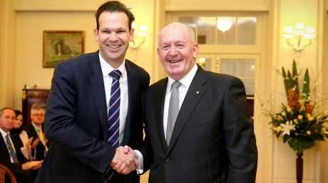 Matt Canavan is sworn in as Resources and Northern Australia Minister by Governor-General Sir Peter Cosgrove after the ...