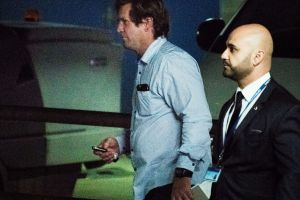 Bulldogs coach Des Hasler leaves a board meeting at Canterbury Leagues Club on Tuesday.