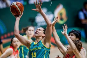 Opals centre Marianna Tolo goes up strongly against Japan on Tuesday at the FIBA Women's Asia Cup.