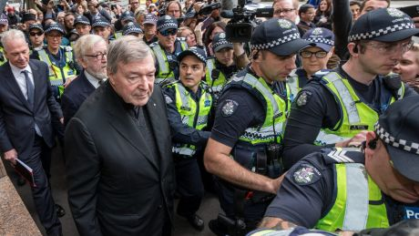 Cardinal George Pell arriving at Melbourne Magistrates Court in July.