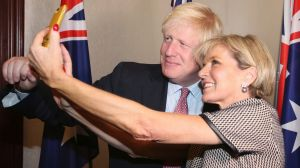 British Foreign Secretary Boris Johnson has a selfie with Australian Foreign Minister Julie Bishop ahead of their ...