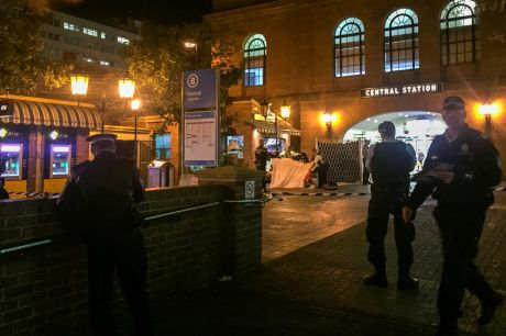Police attend the scene of the Central Station shooting on Wednesday night.