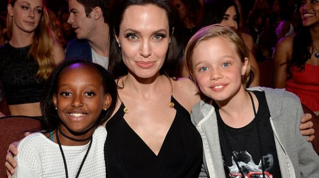 Angelina Jolie with Zahara (L) and Shiloh Nouvel (R) in 2015.