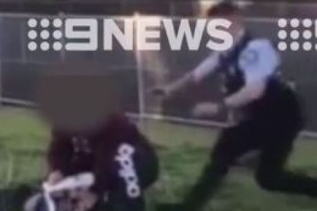 Footage obtained by Channel Nine shows the dramatic arrest in South Wentworthville.