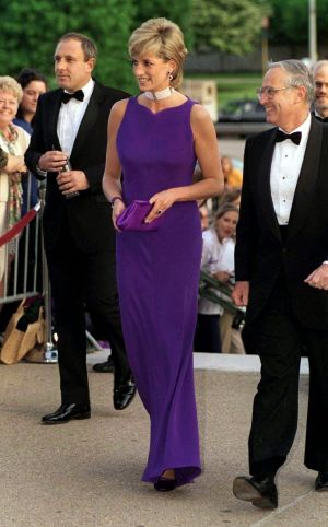 "In Versace at a gala dinner, 1996. ""After her divorce, Diana